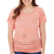by&by 3/4-Sleeve Marled Side-Ruched Necklace Top - Plus
