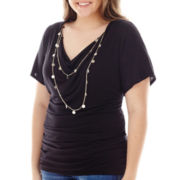 by&by Elbow-Sleeve Draped Necklace Top - Plus