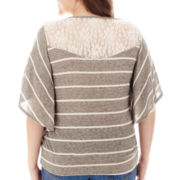 by&by Dolman-Sleeve Striped Banded-Bottom Top - Plus