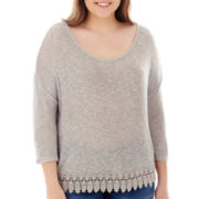 Arizona 3/4-Sleeve Lace-Trim Hatchi Top - Plus