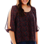 Arizona 3/4-Sleeve Chiffon Peasant Top - Plus