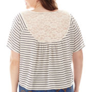 Arizona Short-Sleeve Lace-Yoke Circle Tee - Plus