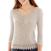 Arizona 3/4-Sleeve Lace-Trim Hatchi Top