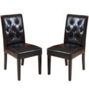 Raymond Set of 2 Bonded Leather Parsons Dining Chairs