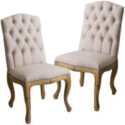 Roswell Set of 2 Tufted Dining Chairs with Nailhead Trim
