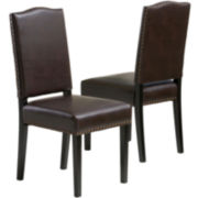 Vincent Set of 2 Bonded Leather Dining Chairs w/ Nailhead Trim