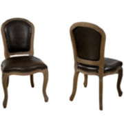 Walter Set of 2 Bonded Leather Dining Side Chairs with Nailhead Trim