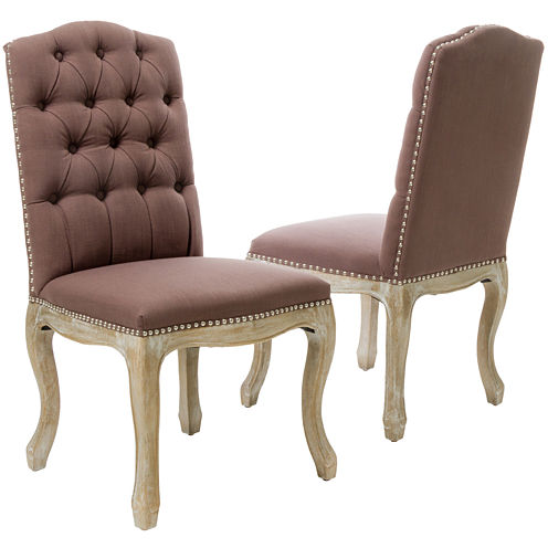 Wester Set of 2 Tufted Upholstered Dining Chairs w/ Nailhead Trim