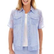 Alfred Dunner® Sea Siren Short-Sleeve Burnout Layered Shirt