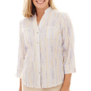 Alfred Dunner® Sea Siren 3/4-Sleeve Texture-Striped Shirt