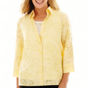 Alfred Dunner® Spring Bliss 3/4-Sleeve Burnout Layered Top