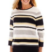 Alfred Dunner® Spring Bliss 3/4-Sleeve Striped Sweater