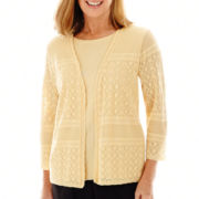 Alfred Dunner® Spring Bliss 3/4-Sleeve Layered Sweater