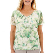 Alfred Dunner® High Tea Short-Sleeve Tiered Print Top
