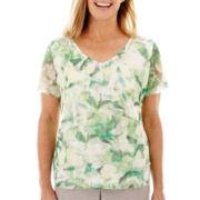 Alfred Dunner® High Tea Short-Sleeve Tiered Print Top