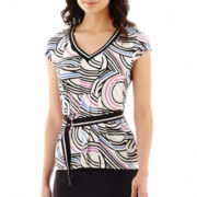 Worthington® Belted V-Neck Top