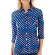 Stylus™ Long-Sleeve Relaxed-Fit Essential Print Shirt