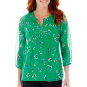 St. John's Bay® 3/4-Sleeve Peasant Top