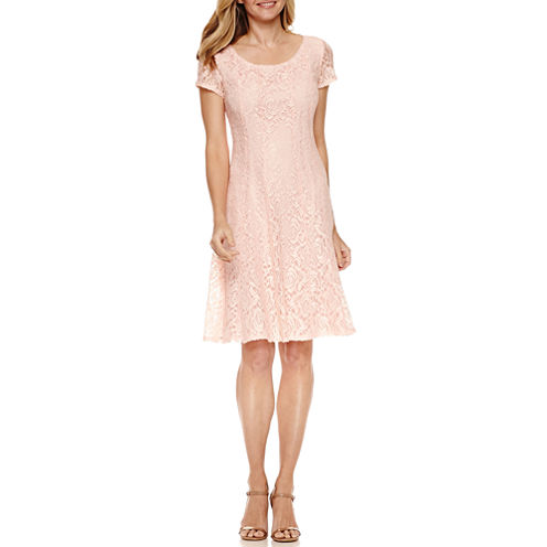 Percpetions Short Sleeve Lace Fit and Flare Dress