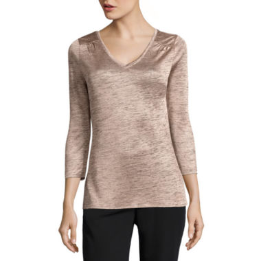 jcpenney.com | Worthington 3/4 Sleeve V Neck Tee