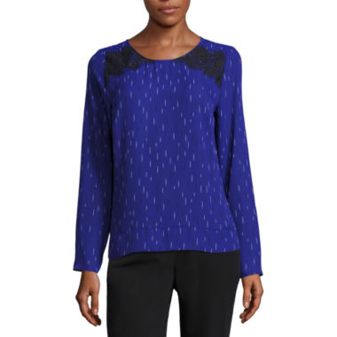 jcpenney.com | Worthington Long Sleeve Crew Neck Woven Blouse