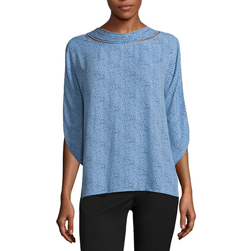 Worthington 3/4 Split Sleeve Woven Pullover Blouse