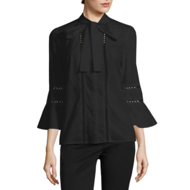 jcpenney.com | Worthington 3/4 Sleeve Y Neck Woven Blouse