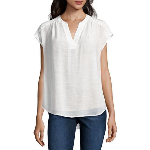 Liz Claiborne® Short-Sleeve Split-Neck Blouse
