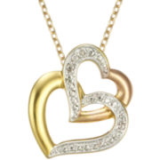 Diamond-Accent Double-Heart Pendant In 14K Gold Over Sterling Silver Necklace