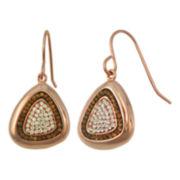 Rose 'N Chocolate Crystal Drop Rose-Tone Sterling Earrings