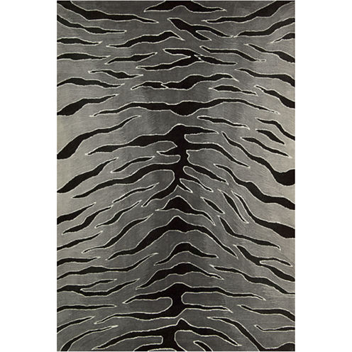 Nourison® Black Tiger High-Low Carved Rectangular Rug