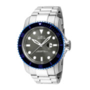 Invicta® Mens Black Dial Stainless Steel Watch