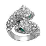 Alexandra Gem Crystal Twin Snake Bypass Ring