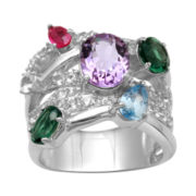 Alexandra Gem Multicolor Gemstone Crisscross Ring