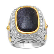 Alexandra Gem Blue Sandstone & Lab-Created White Sapphire Ring