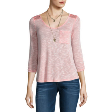 jcpenney.com | Self Esteem 3/4 Sleeve V Neck T-Shirt with Necklace-Juniors