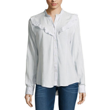 jcpenney.com | Almost Famous Long Sleeve Rayon Blouse-Juniors
