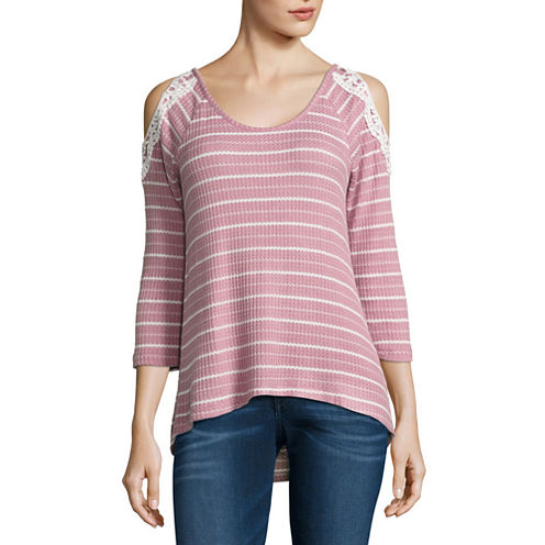 Almost Famous 3/4 Sleeve T-Shirt-Womens Juniors