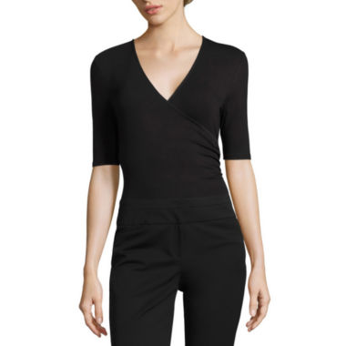 jcpenney.com | Worthington Elbow Sleeve V-Neck Surplice Bodysuit