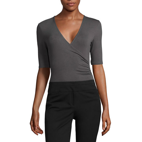 Worthington Elbow Sleeve V-Neck Surplice Bodysuit
