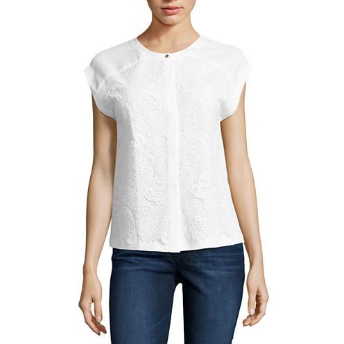Liz Claiborne® Cap-Sleeve Lace Button-Front Blouse