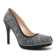 Qupid Waltz Jeweled Pumps
