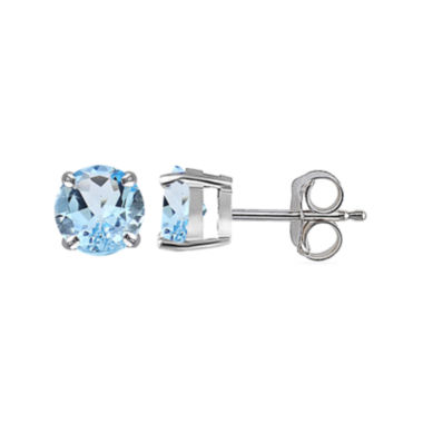 jcpenney.com | Silver Treasures™ Genuine Blue Topaz Sterling Silver Button Stud Earrings