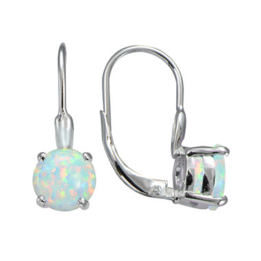 jcpenney.com | Silver Treasures™ Lab-Created Opal Sterling Silver Drop Earrings