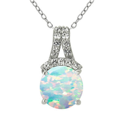 jcpenney.com | Silver Treasures™ Lab-Created Opal & Genuine White Topaz Sterling Silver Pendant Necklace