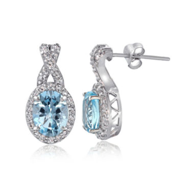 jcpenney.com | Silver Treasures™ Genuine Blue Topaz & Cubic Zirconia Sterling Silver Oval Drop Earrings