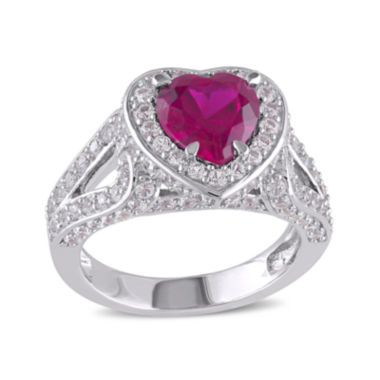 jcpenney.com | Heart-Shaped Lab-Created Ruby and Lab-Created White Sapphire Sterling Silver Ring