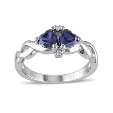 jcpenney.com | Heart-Shaped Lab-Created Blue Sapphire and Diamond-Accent Sterling Silver Ring