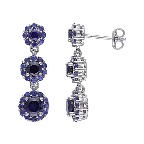 Lab-Created Blue Sapphire Sterling Silver Triple-Drop Earrings