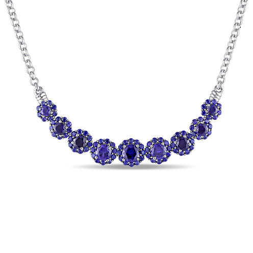 Lab-Created Blue Sapphire Sterling Silver Necklace